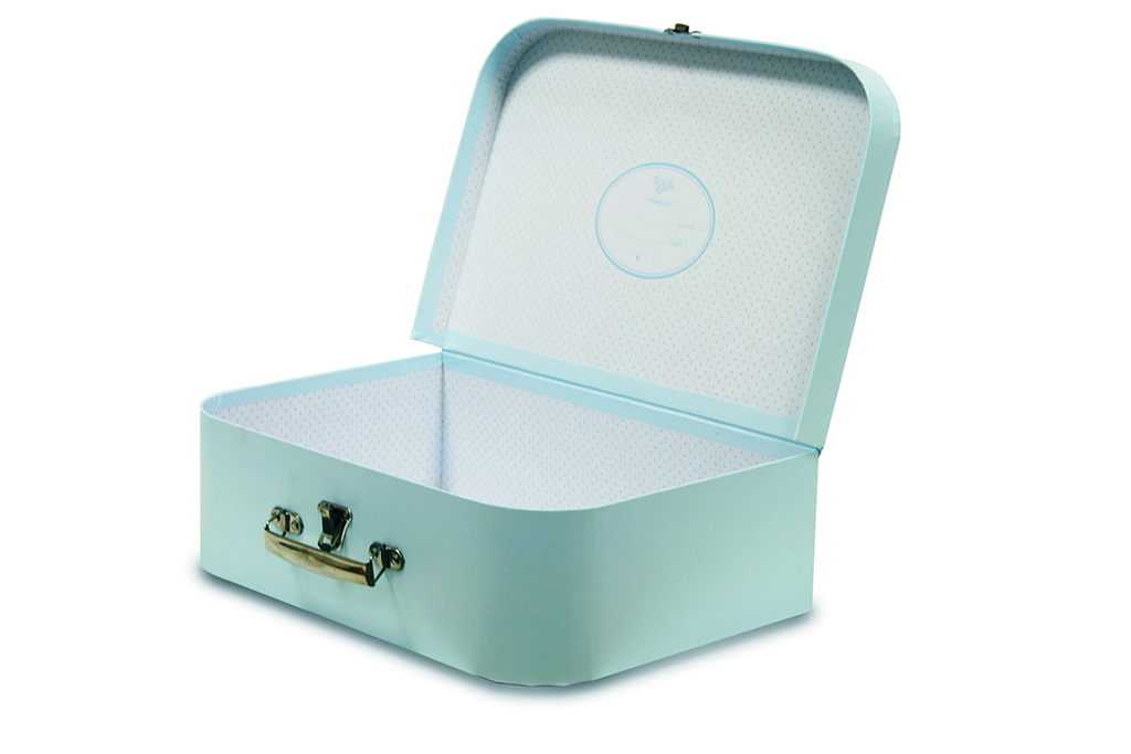 Small blue cardboard suitcase