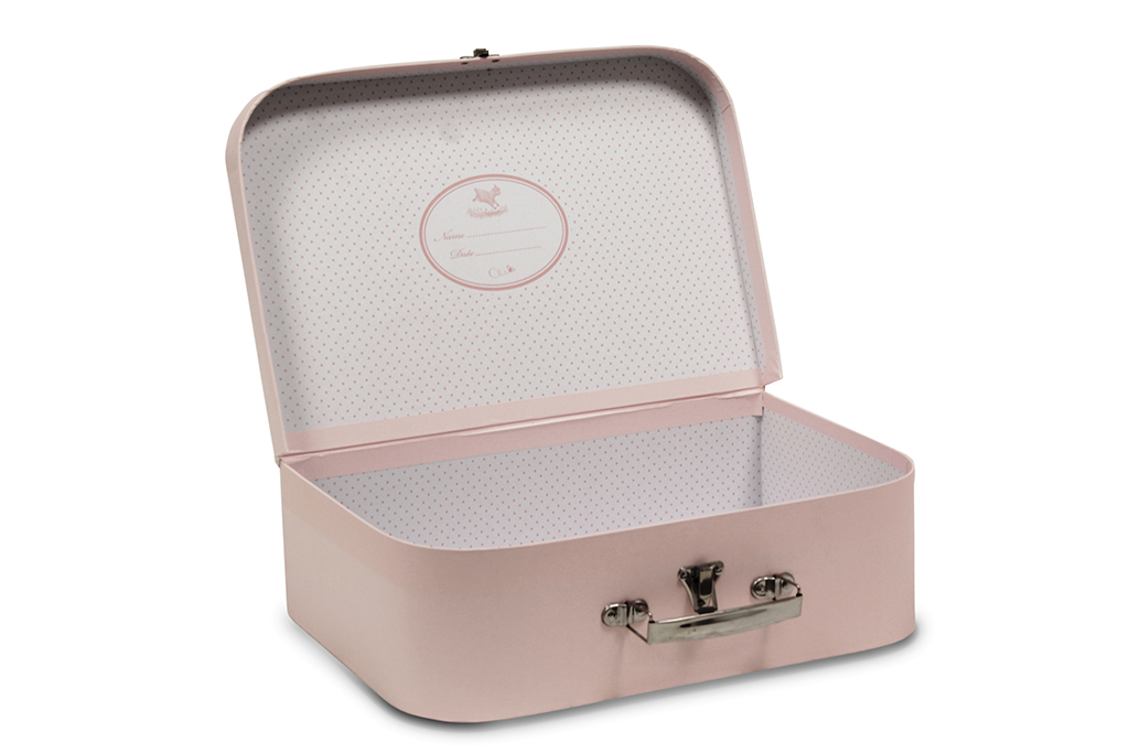 Small pink cardboard suitcase