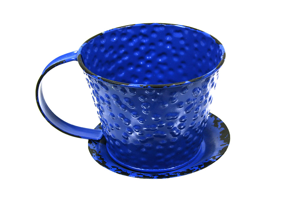 Small blue cup planter