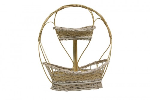 White straw two-tier basket