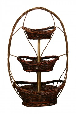 Three-tier wicker basket