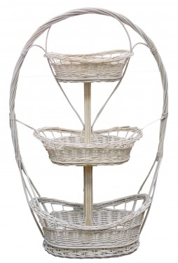 Three-tier white wicker basket