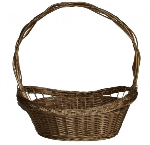 Whole wicker basket gold braid