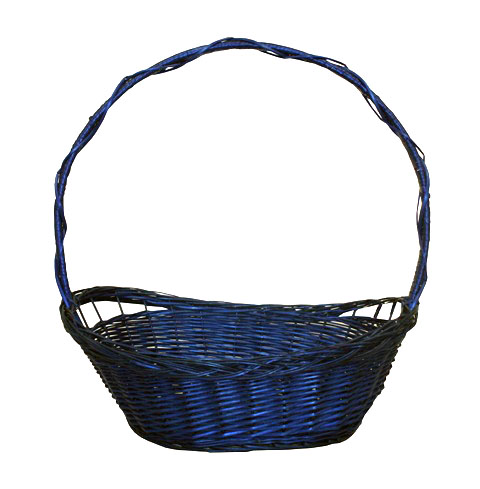 Whole wicker basket blue braid