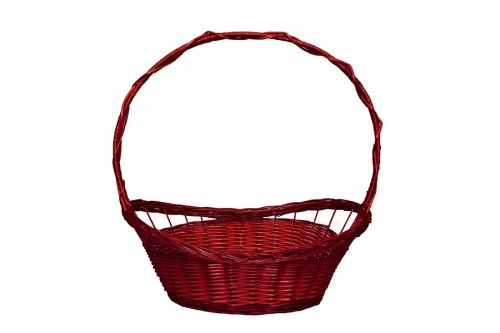 Whole wicker basket red braid