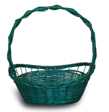 Whole wicker basket green braid