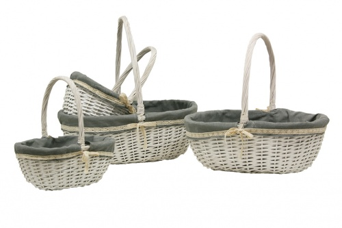 Wicker basket with fabric s / 4