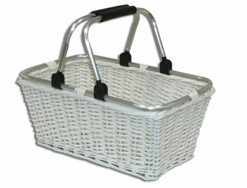 White basket with movable handles