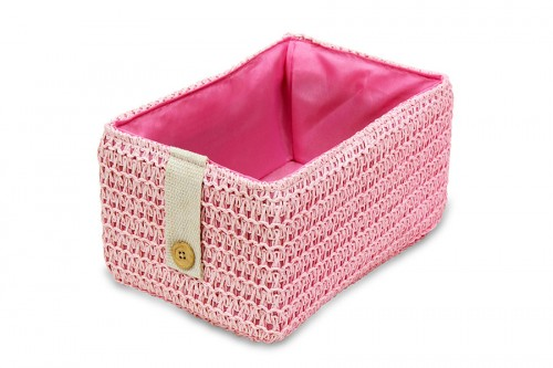 Pink tray with button