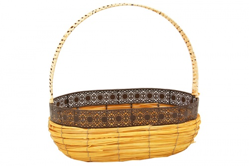 Light brown decorated metal wicker basket