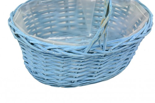 Oval blue basket with plastic