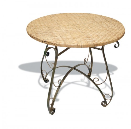 Iron and rattan table