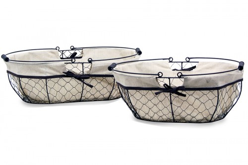 Metal basket with folding handles s / 2