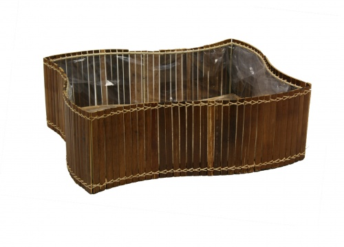 S/5 bamboo hamper with plastic