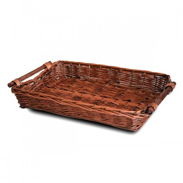 Rectangular dark tray with stick handle