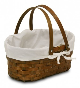 BAMBOO BASKET, FOLDING HANDLES AND PHUKET FABRIC