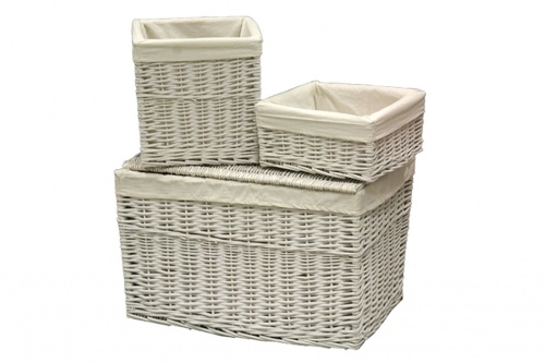 Wicker trunk with seat cover set of 4